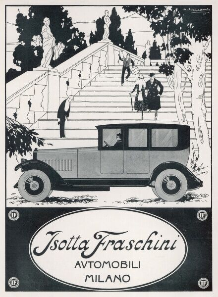 The butler bows, a page hurries with the luggage, and a smart couple prepare to leave in their equally smart Isotta Fraschini saloon car