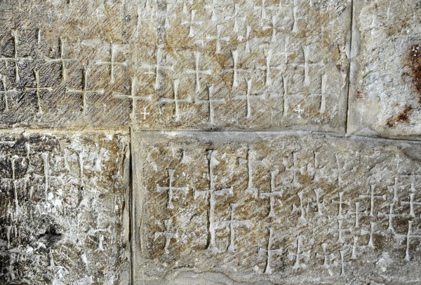 Israel. Jerusalen. Crusader graffiti in the Church of the Ho