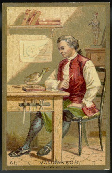 JACQUES DE VAUCANSON French inventor of textile machinery, also of automata including 'The Duck' shown in this picture