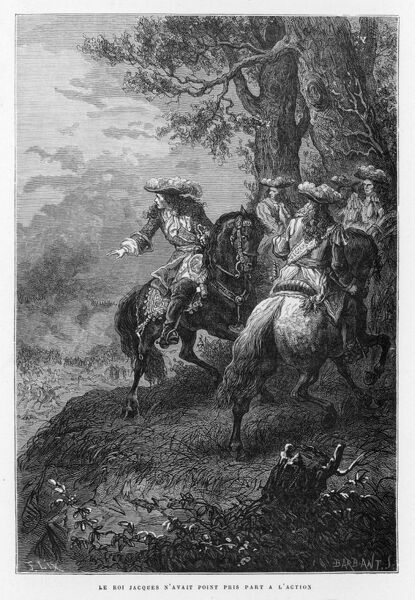 James II at the Battle of the Boyne, where he was defeated by William III of Orange during the War of the English Succession. The battle took place near the town of Drogheda on the east coast of Ireland