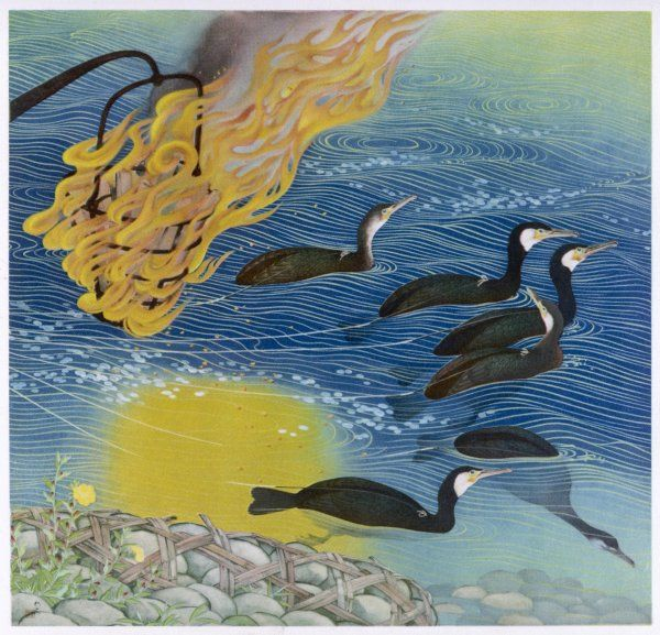 Japanese fishing with beacons to attract the fish and cormorants to catch them Date: 1933
