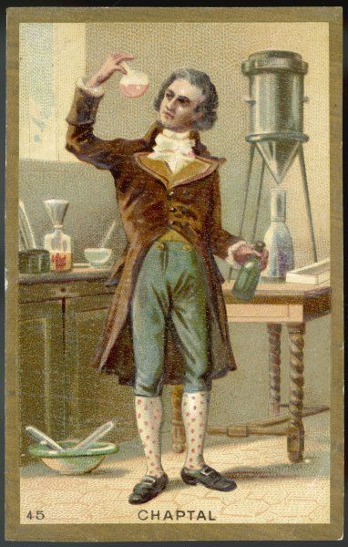 JEAN-ANTOINE CHAPTAL comte de Chanteloup, French chemist, suggested adding sugar to speed fermentation of wine &c