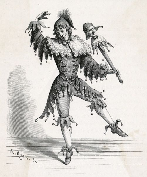 A jester, traditionally dressed in cap and bells, holding a stick with a jester's likeness, variously known as a 'jester stick', 'fool's wand' or ninny stick