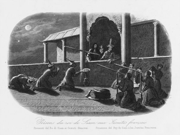 Jesuit missionaries in Siam (Thailand) impress the king with their telescopes