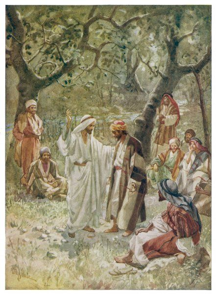 JESUS AND DISCIPLES. Jesus teaching Peter and other disciples