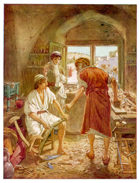 JESUS HELPS JOSEPH. Jesus, as a youth, helps his father Joseph in the carpentry trade