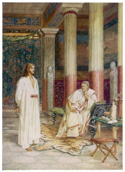 JESUS WITH PILATE. Jesus's interview with Pontius Pilate