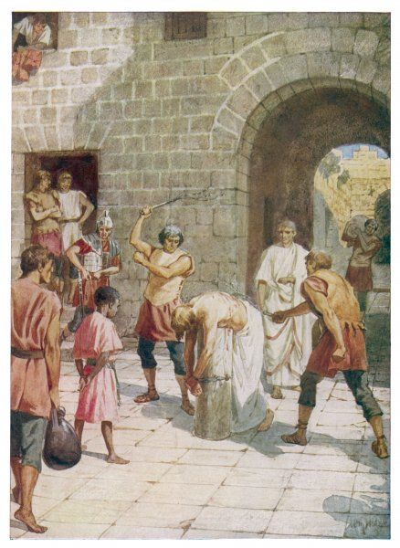JESUS SCOURGED. Jesus is scourged at the orders of Pontius Pilate