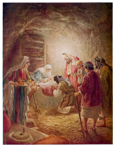 The shepherds come to see Mary, Joseph and their baby Jesus