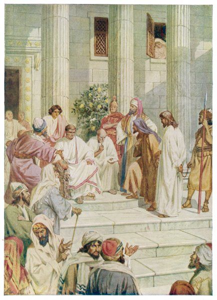 Jesus is taken before Pontius Pilate