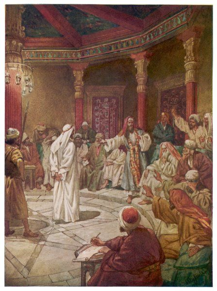 JESUS ON TRIAL. He is accused of blasphemy by Caiaphas, the High Priest