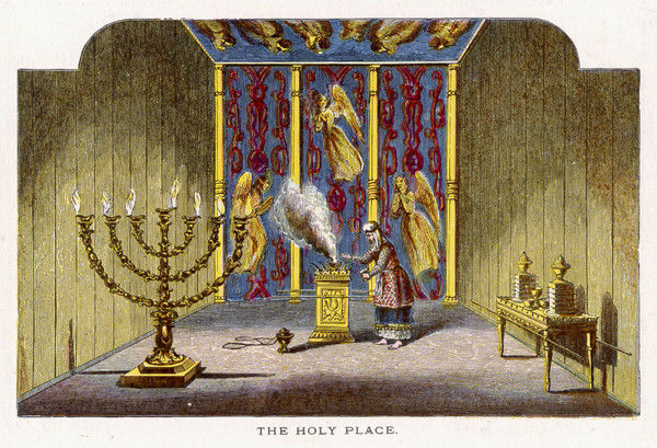 View of a Jewish temple interior, showing the holy room. Adjoining the holy of holies, this room had an incense altar, a menorah and a shewbread table