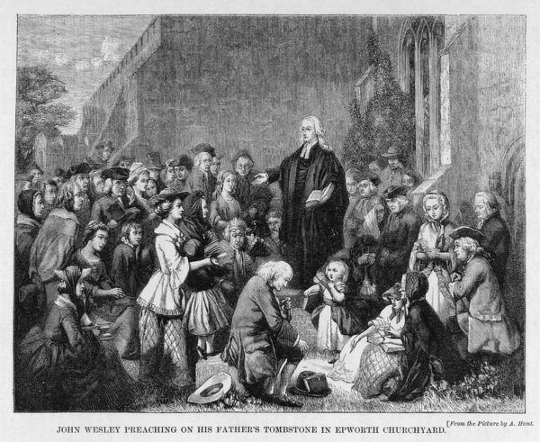 JOHN WESLEY English religious leader preaching on his father's grave, Epworth