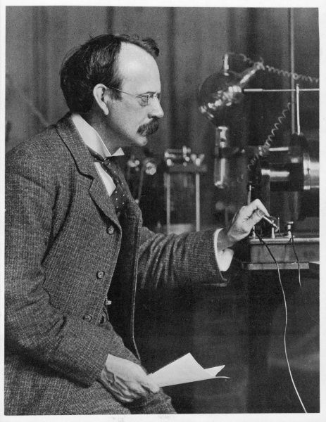 JOSEPH JOHN THOMSON physicist, working at the Cavendish Laboratory, Cambridge, circa 1904
