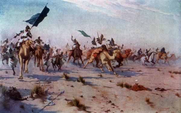 After the battle of OMDURMAN, the defeated Khalifa flees the battlefield