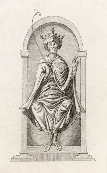 ENGLISH ROYALTY King Edgar I the Peaceful or Peaceable crowned, seated on his throne and holding a palm