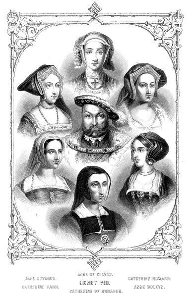 KING HENRY VIII Portrait of the King of England with all his wives SEYMOUR/CLEVES/HOWARD HENRY VIII PARR/ARAGON/BOLEYN