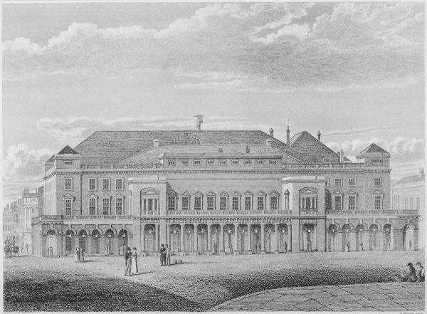 King's Theatre, Haymarket - the front elevation by John Nash, re-built after the original was destroyed by a fire in 1789