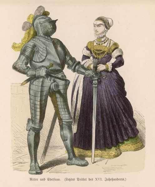 Knight and lady. Knight in armour and his lady