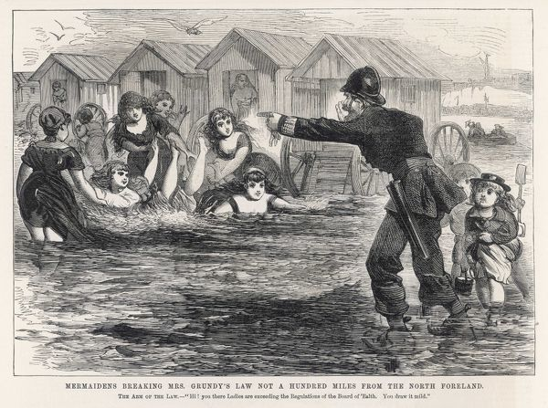Ladies bathing at Margate, Kent, are reproved by the local constabulary for unseemly behaviour