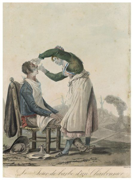 LADY BARBER/VERNET. A (French) lady barber wet shaves her customer