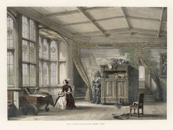 An aristocratic lady plays her lute in a room at Knole, Kent