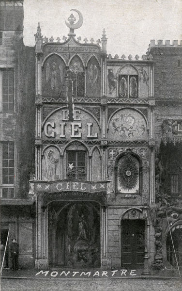 The Ornate Exterior of Le Ciel - Montmartre, Paris Cabaret Nightclub. The Cabaret du Ciel (Cabaret of Heaven) was an early version of modern theme restaurants, with a theme centered around celestial concepts connected to the afterlife in Paradise