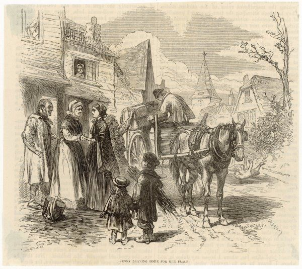 'Jenny leaving home for her place' - a village girl says goodbye to her parents while her luggage is loaded onto the carrier's cart