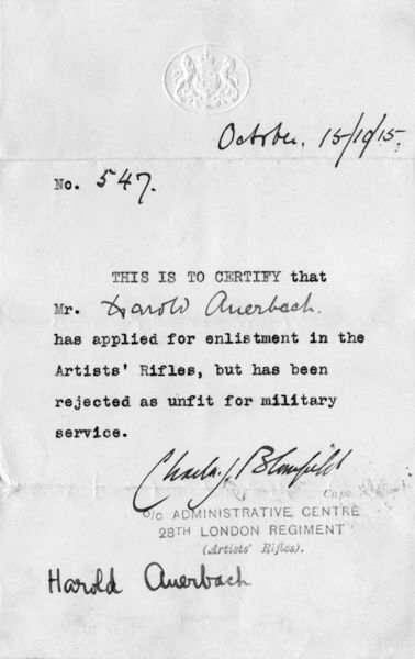 Letter of confirmation, unfit for military service, WW1
