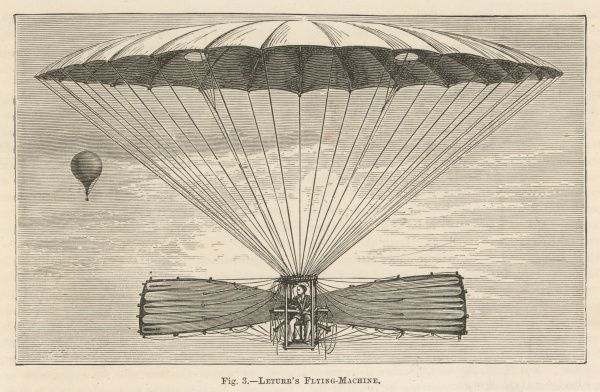 Leturr cleverly solves the problem of getting airborne by releasing himself from a balloon. Alas, his design is not so clever, and he plunges fatally to the ground
