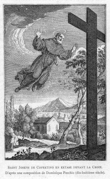 San GIUSEPPE DI COPERTINO (1603-1663) is levitated to the top of a crucifix