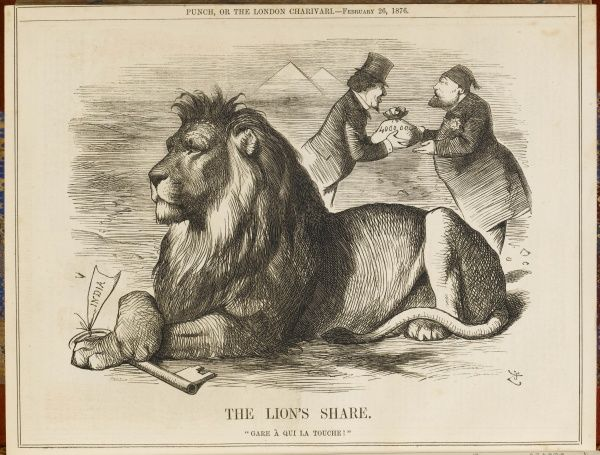 THE LION'S SHARE Disraeli buys Suez Canal shares to secure the safety of the passage to India