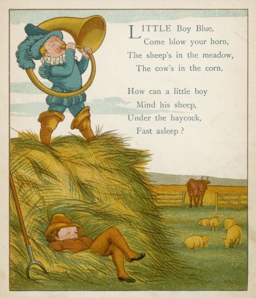 'LITTLE BOY BLUE' The horn-blower stands on top of the haystack