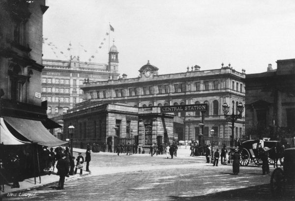 A street scene in Liverpool, including Central Station