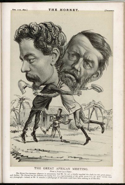 Stanley finds Livingstone - a somewhat disrespectful depiction of the momentous occasion by a caricaturist who suspected media hype