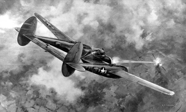 Lockheed P-38 'Lightning' in action; Second World War, 1944
