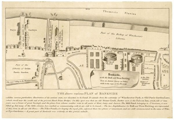 Plan of the Bankside area, including the bull and bear baiting pits