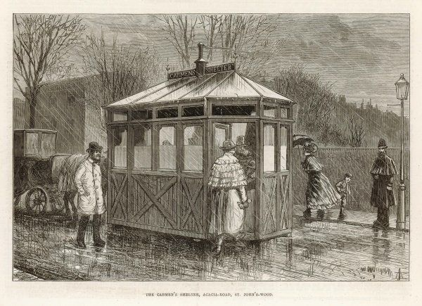 London Cab Shelter. Cabbies' shelter in Acacia Road, Saint John's Wood, London