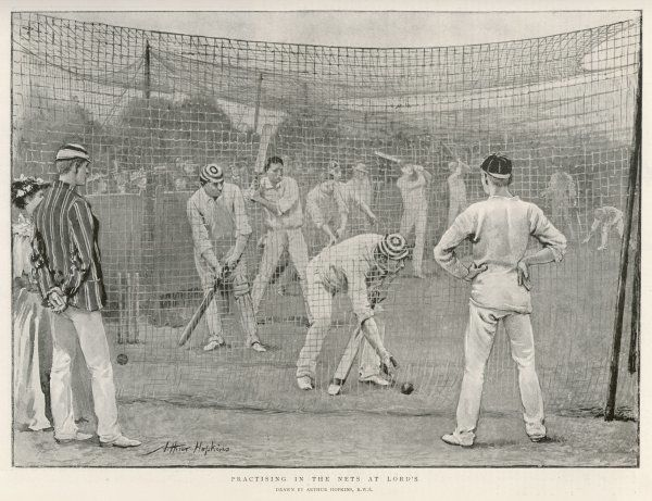 LORD'S NETS. Practising in the nets