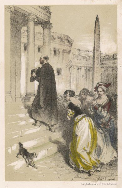 At Rome, the fervent eloquence of Loyola's preaching attracts even the most fashionable courtesans of the city
