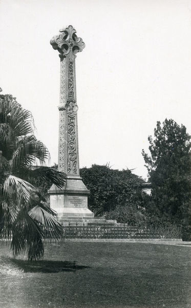 High cross Sir Henry Lawrence Memorial in The Residency, Lucknow - Sir Henry (1806-1857) acted heroically during the Siege of Lucknow in 1857, losing his life after suffering wounds from a shell blast. Date: circa 1930s