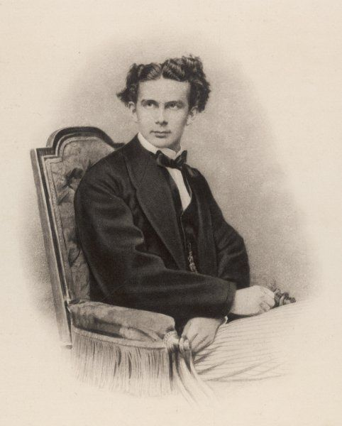 KING LUDWIG II OF BAVARIA Reigned March 1864 - June 1886 Portrait as a young man