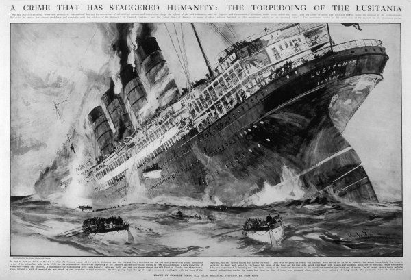 The Cunard passenger liner sinks, with the loss of 1198 lives, after being torpedoed off the Irish coast by German U-boat U-20, while returning to Britain from America