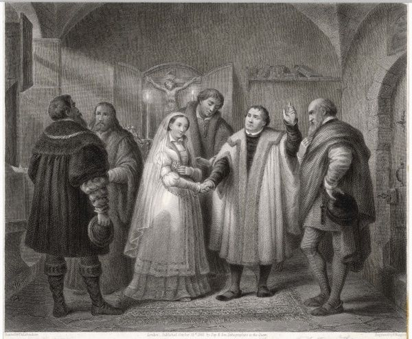 MARTIN LUTHER Rejecting the celibacy imposed by Catholic teaching, he marries Katharina von Bora in Amsdoff's House at Wittenberg