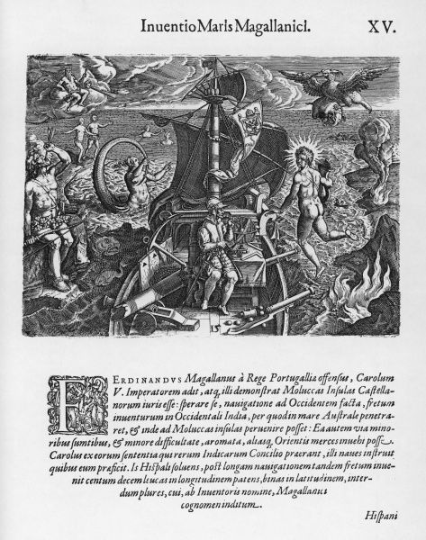 FERDINAND MAGELLAN Portuguese navigator depicted allegorically during his voyage to South America