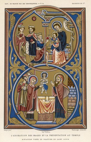Jesus receives the gifts of the Magi ; later his mother takes him to be presented in the Temple at Jerusalem, where Simeon gives thanks to God