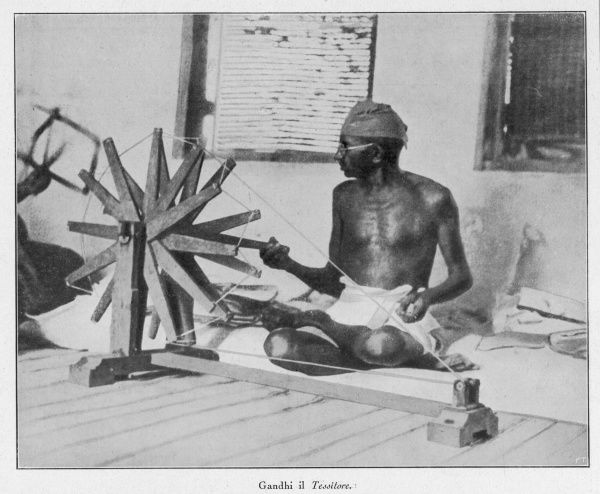 Mahatma Gandhi, Indian nationalist and spiritual leader, spinning at his wheel (Charakha) in 1931, demonstrating his strong work ethic