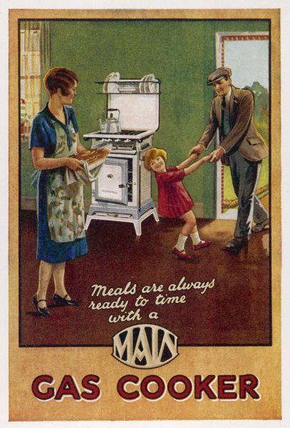 MAIN GAS COOKER. 'Main' gas cooker - mum has dad's supper ready on time