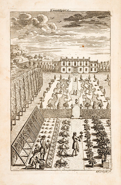Manor or country house garden, with workers. Copper-plate illustration from Richard Bradley, New improvements of planting and gardening, both philosophical and practical. Frontispiece. Date: 1739
