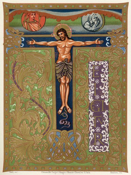 Facsimile of a page of illuminated manuscript with the crucifix designed into an ornate letter 'T' (from the Church in Metz, France)